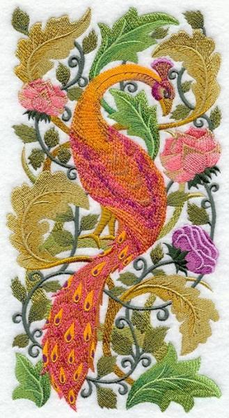 Embroidery Quilt block,Peacock In flower,quilting block,