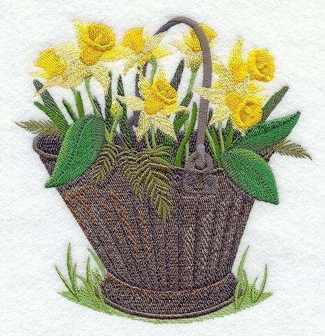 Embroidery Quilt block,Pretty Pail Daffodil,quilting block