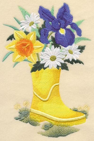Embroidery Quilt block,Rain Boot Bouquet,quilting block