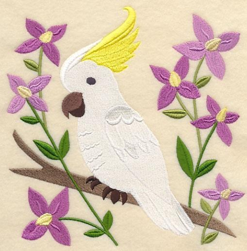 Embroidery Quilt block-Sulphur crested Cockatoo and Aniseed Boronia,quilting