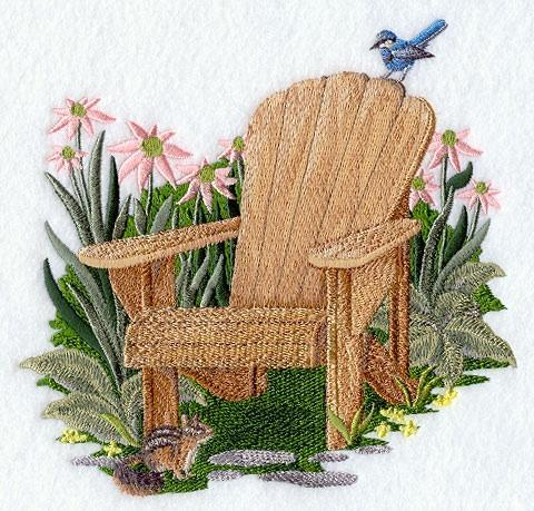Embroidery Quilt block, Summer adirondack chair,quilting block