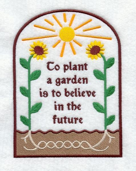 Embroidery Quilt block,To plant a garden is to believe in the future,quilting