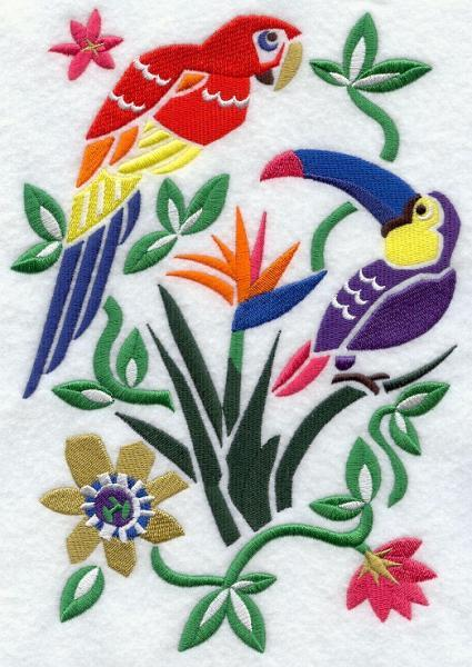 Embroidery Quilt Block,Tropical Bird woodcut,quilting block,