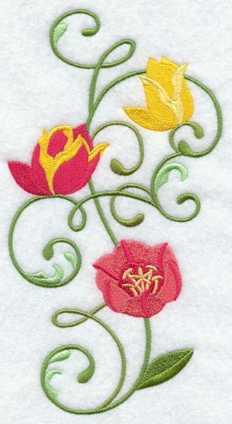 Embroidery Quilt block,Tulip spray, quilting block