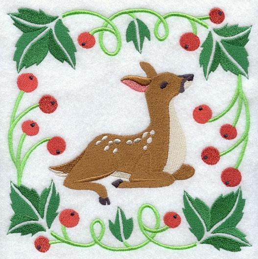 Embroidery Quilt block,Woodland Animal Square -Deer,quilting block,
