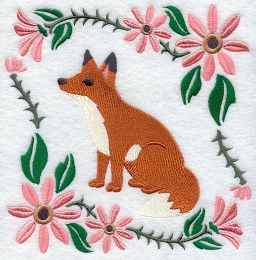 Embroidery Quilt block,Woodland Animal Square - Fox,quilting block,