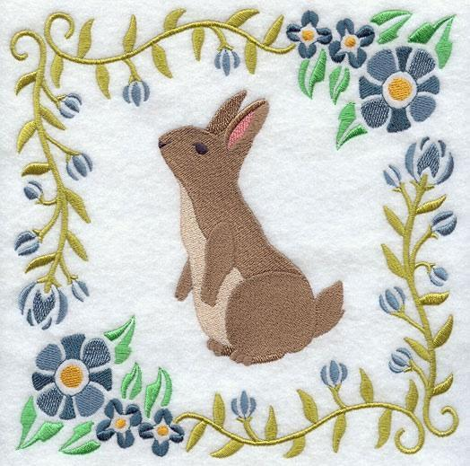 Embroidery Quilt block,Woodland Animal Square -Rabbit,quilting block,