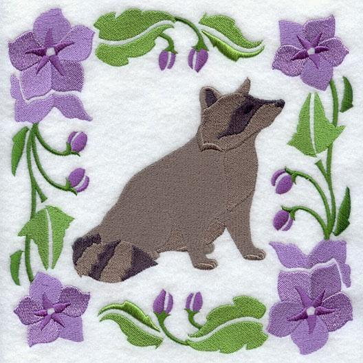 Embroidery Quilt block,Woodland Animal Square - Raccoon,quilting block,