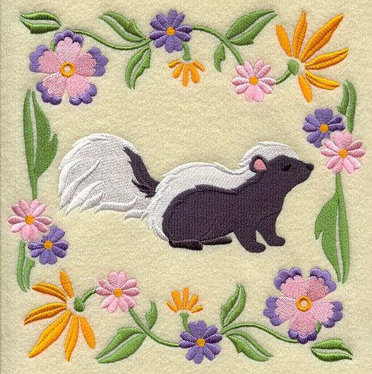 Embroidery Quilt block,Woodland Animal Square - skunk,quilting block,