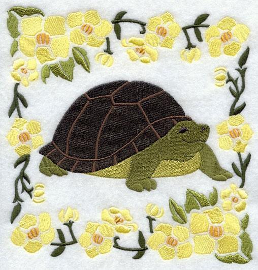 Embroidery Quilt block,Woodland Animal Square -Turtle,quilting block,