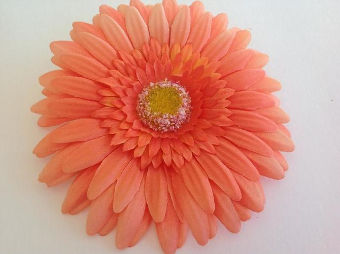 Floral clip,add ons, fabric flower yellow daisy orange