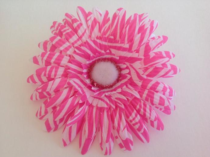 Floral clip,add ons, fabric flower yellow daisy pink zebra