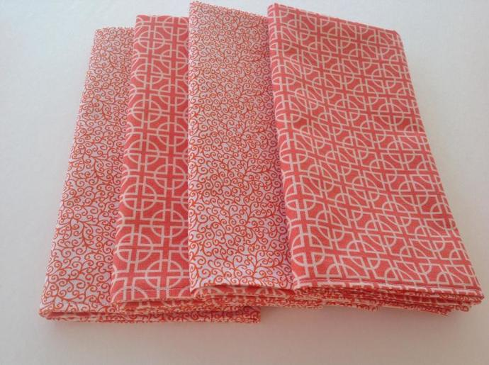 Set of 4 reversible orange geometric table napkin,cotton,16.5 x16.5