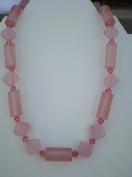 Pink Resin Beaded Necklace