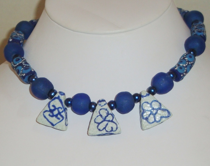 Recycled Blue and White Krobo Bead Necklace