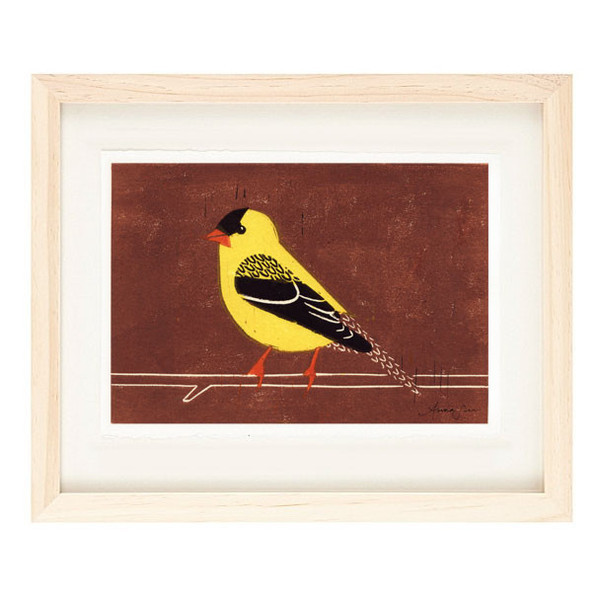 AMERICAN GOLDFINCH Reproduction 5 x 7 Linocut Art Print