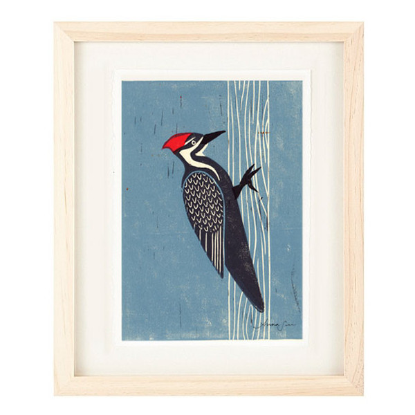 PILEATED WOODPECKER Reproduction 5 x 7 Linocut Art Print