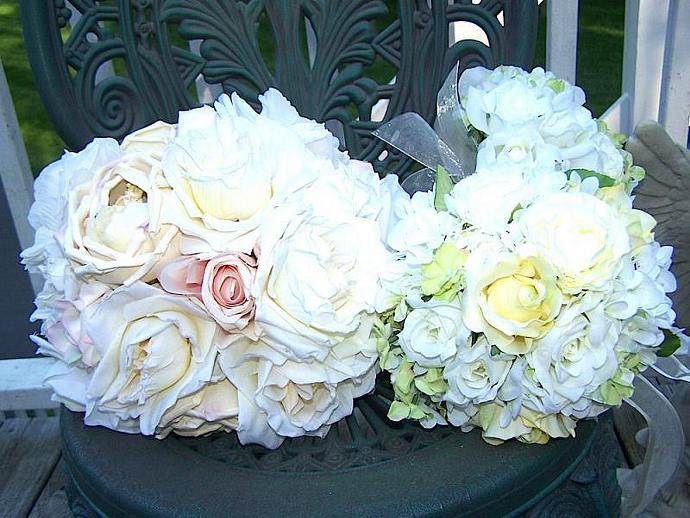 French Heirloom Pastel Rose Wedding Bouquet and Bout