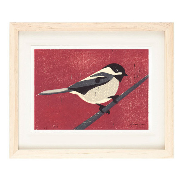 BLACK CAPPED CHICKADEE Reproduction 5 x 7 Linocut Art Print