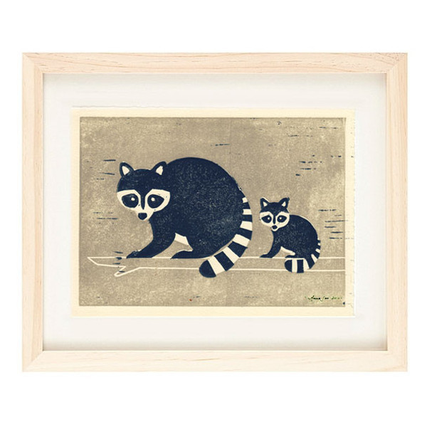 RACCOONS Reproduction 5 x 7 Linocut Art Print
