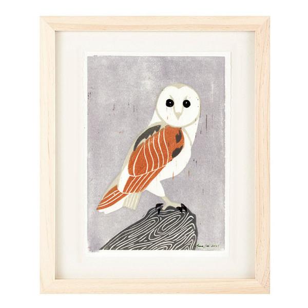 BARN OWL Reproduction 5 x 7 Linocut Art Print