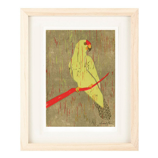RED CROWNED AMAZON Reproduction 5 x 7 Linocut Art Print