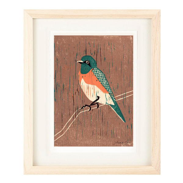 WESTERN BLUEBIRD Reproduction 5 x 7 Linocut Art Print