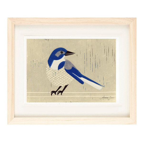 WESTERN SCRUBJAY Reproduction 5 x 7 Linocut Art Print
