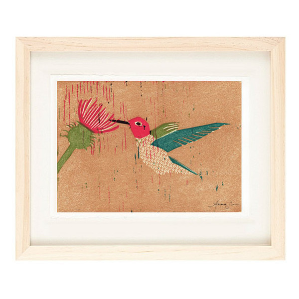 ANNA'S HUMMINGBIRD Reproduction 5 x 7 Linocut Art Print