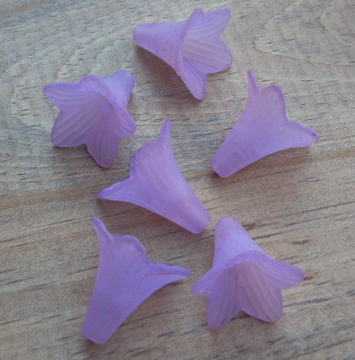 Lucite Flower Beads, Large Trumpet, Matte Purple, 8
