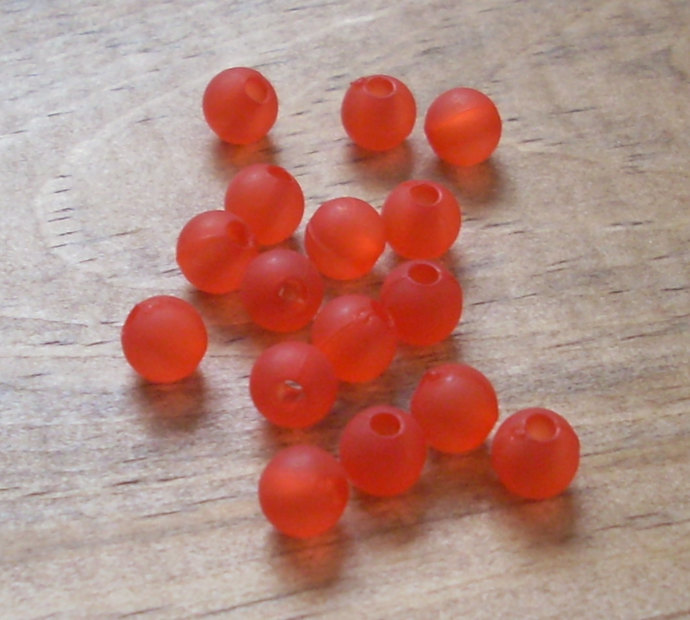 Frosted Acrylic Round Beads, Matte Red, 50