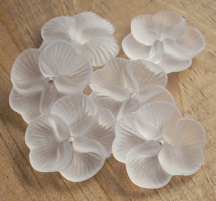 Lucite Flower Beads, Flat Pansy, Matte White, 10