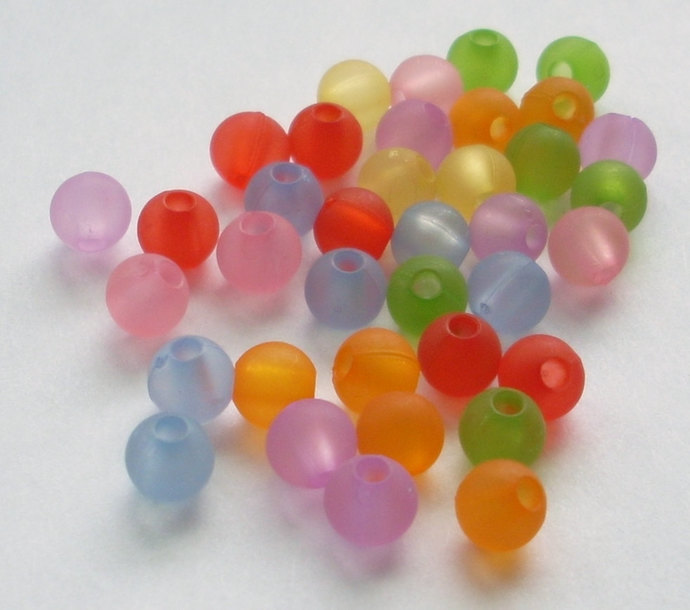 Frosted Acrylic Round Beads, Matte Rainbow Mix, 100