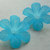 Large Lucite Flower Beads, Jumbo Blooms, Matte Blue, 4