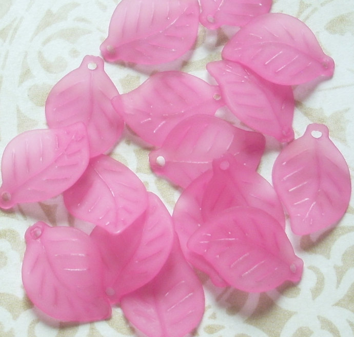 Lucite Leaf Charms, Curved Leaves, Matte Dark Pink, 20