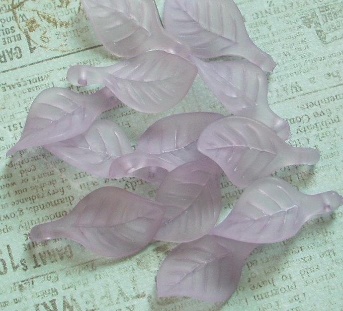 Lucite Leaf Charms, Side Drilled, Matte Lavender, 20
