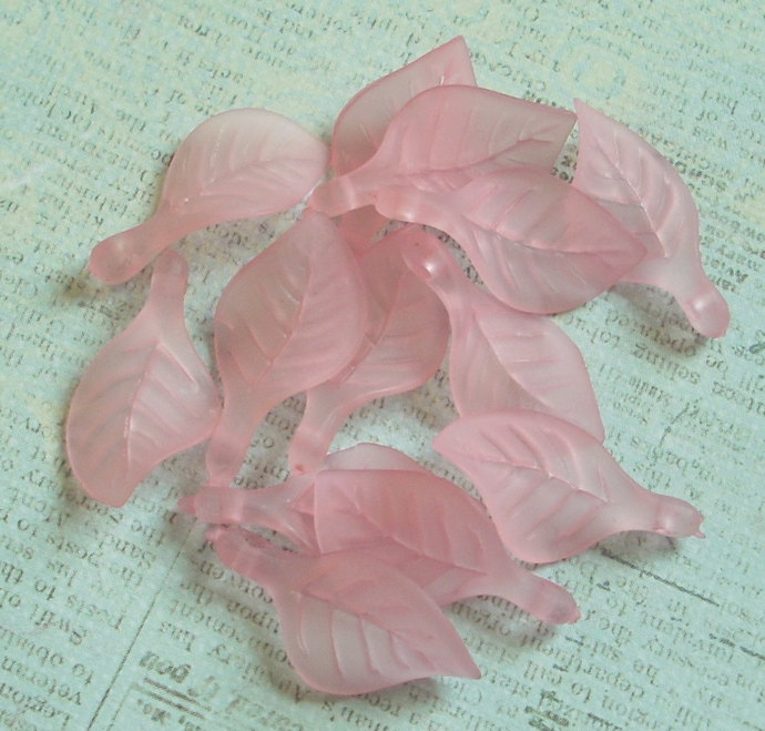 Lucite Leaf Charms, Side Drilled, Matte Pink, 20