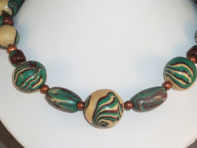 Marbled Teal and Copper Polymer Clay Necklace