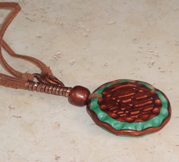 Teal and Copper Circle Polymer Clay Pendant Necklace