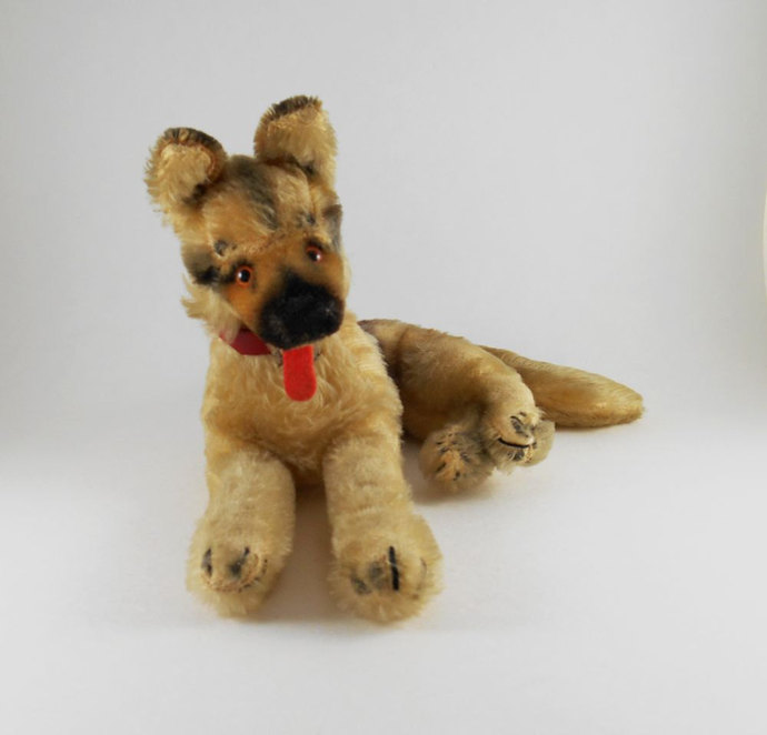 Antique Hermann Teddy Mohair German Shepherd 1920s Germany