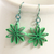Green Star Earrings Nine Pointed Paper bridesmaid gift with Niobium Earring