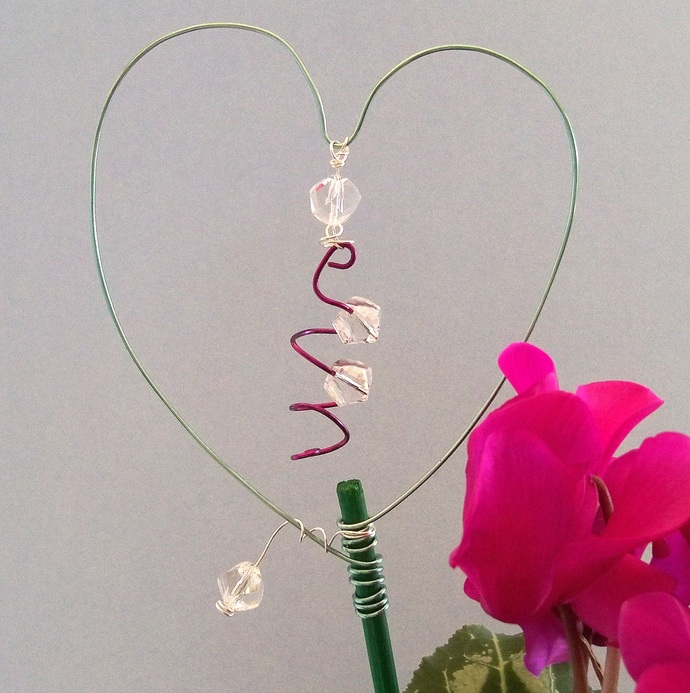 Love Your Plant Stakes Seafoam Green and Purple Decoration