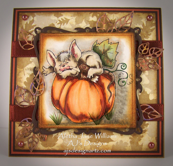 An Autumn Nap Fantasy Fall Handmade OOAK Art Greeting Card