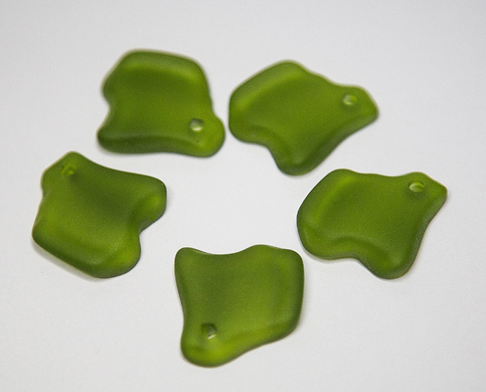 Ridged Freeform Shamrock Sea Glass Pendants- recycled glass