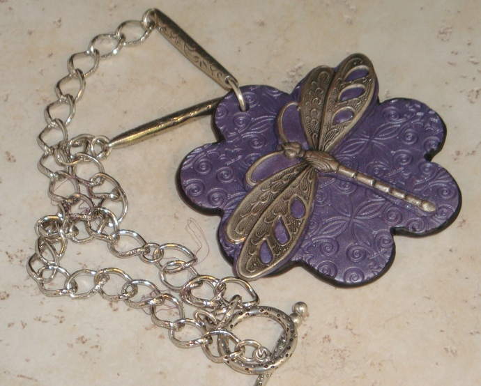 Polymer Clay Dragonfly Necklace By Secondsisteratmoarkjewelry On