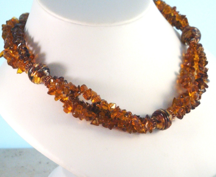 Amber and Smoky Quartz Necklace