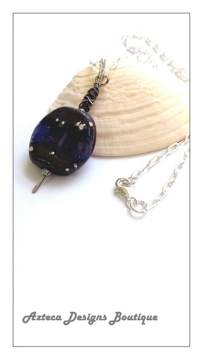 Sterling Silver Dark Violet Shimmer Pendant