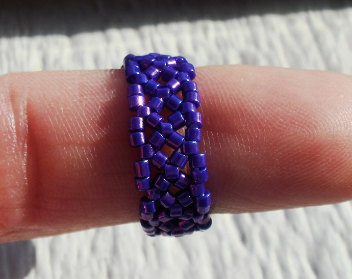 Purple Cocktail Beaded Ring