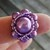 Purple Beaded Ring Sz 8