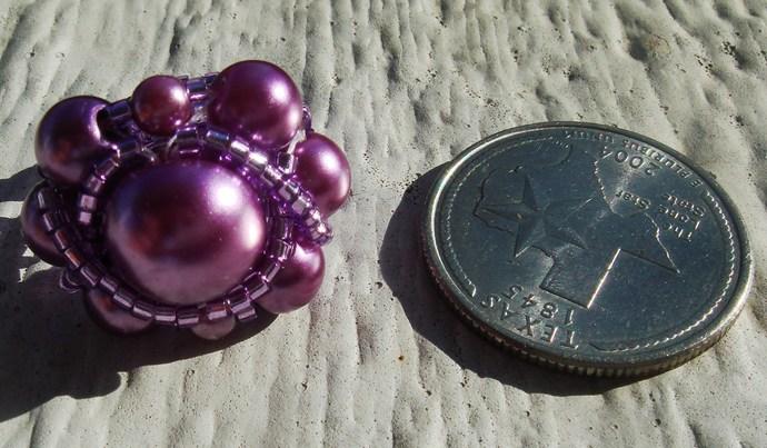 Purple Beaded Ring Sz 8